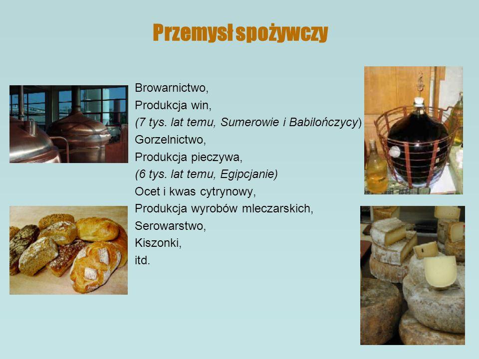 Przemysł spożywczy Browarnictwo, Produkcja win,