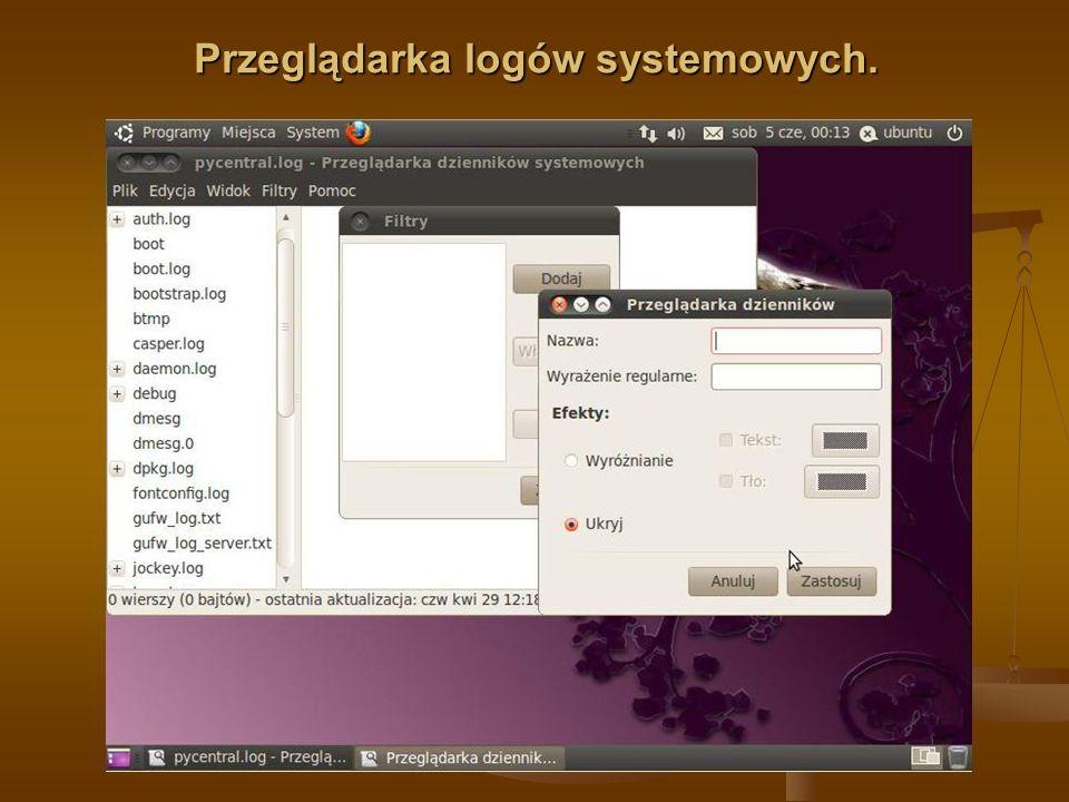 Przeglądarka logów systemowych.