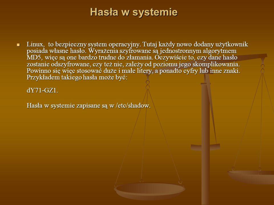 Hasła w systemie