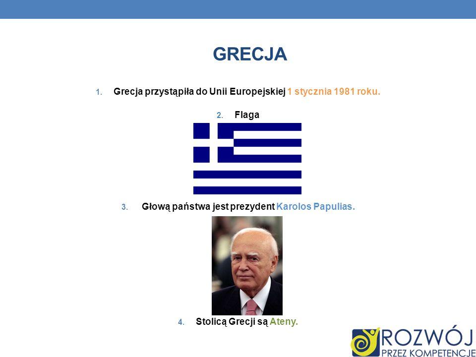 Grecja Grecja przystąpiła do Unii Europejskiej 1 stycznia 1981 roku.