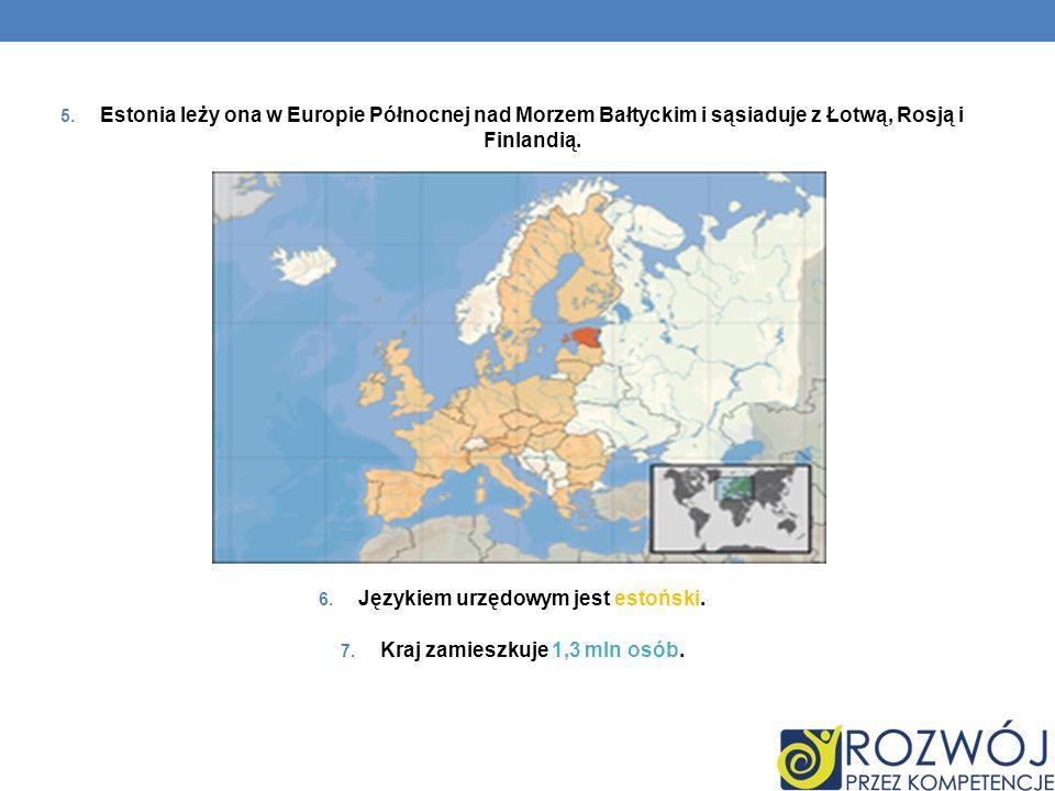 Językiem urzędowym jest estoński. Kraj zamieszkuje 1,3 mln osób.