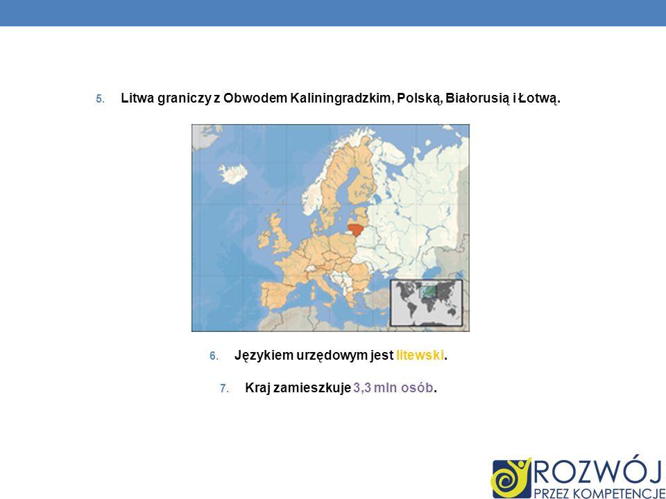 Litwa graniczy z Obwodem Kaliningradzkim, Polską, Białorusią i Łotwą.