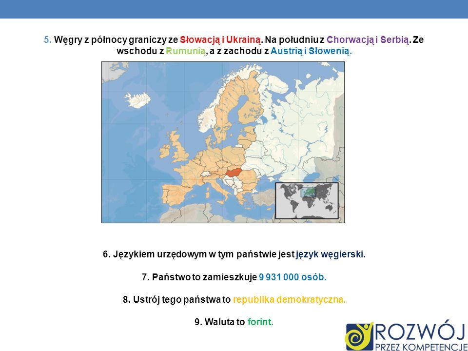 5. Węgry z północy graniczy ze Słowacją i Ukrainą