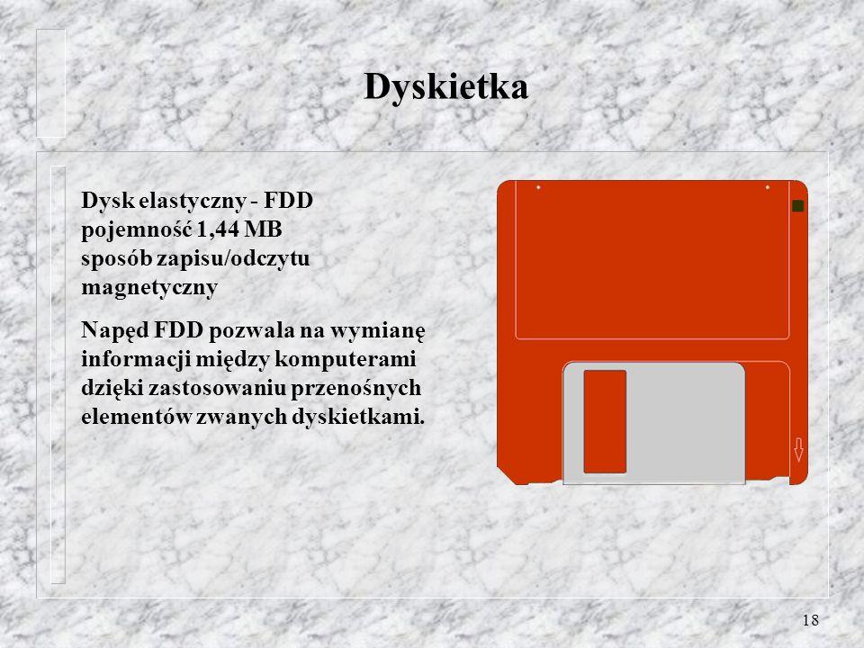 Dyskietka Dysk elastyczny - FDD pojemność 1,44 MB sposób zapisu/odczytu magnetyczny.