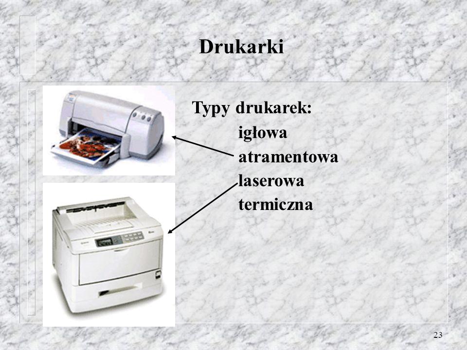 Drukarki Typy drukarek: igłowa atramentowa laserowa termiczna
