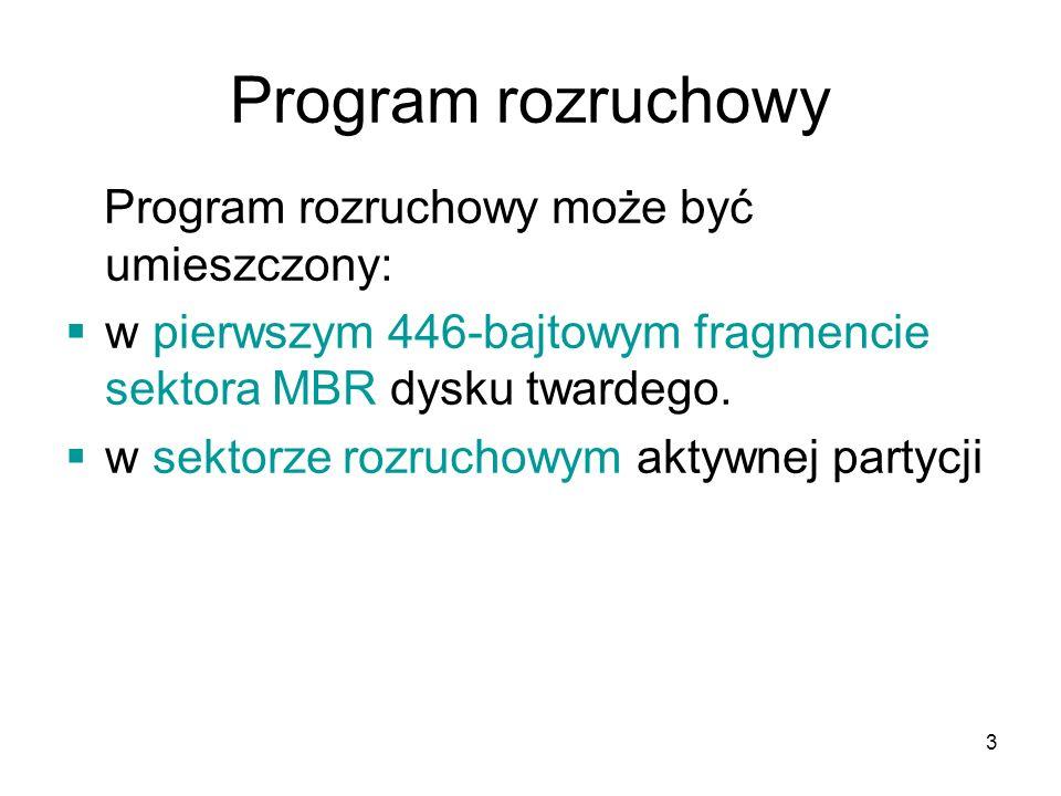 Program rozruchowy Program rozruchowy może być umieszczony: