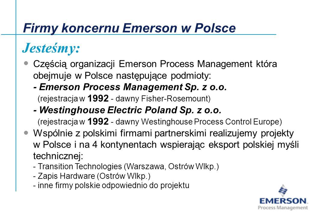 Jesteśmy: Firmy koncernu Emerson w Polsce