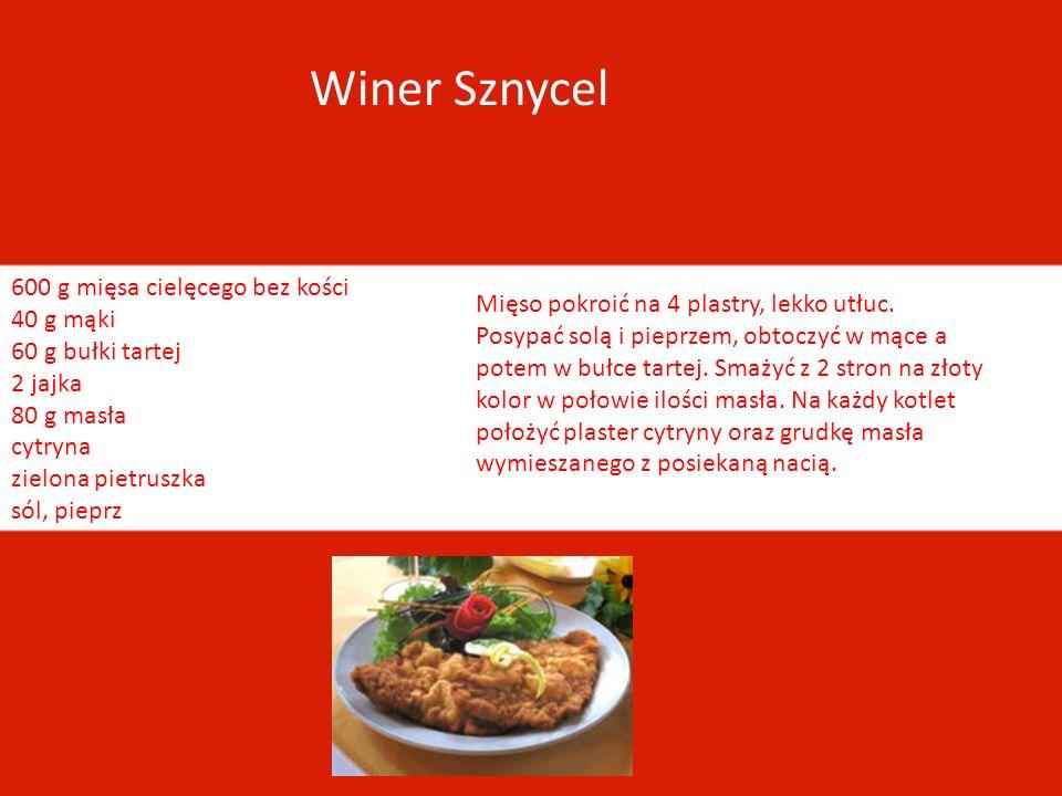 Winer Sznycel 600 g mięsa cielęcego bez kości 40 g mąki 60 g bułki tartej 2 jajka 80 g masła cytryna zielona pietruszka sól, pieprz.