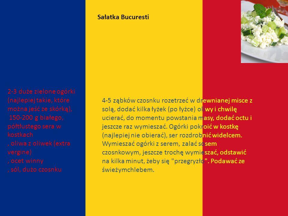 Sałatka Bucuresti 2-3 duże zielone ogórki (najlepiej takie, które można jeść ze skórką), 150-200 g białego, półtłustego sera w kostkach.