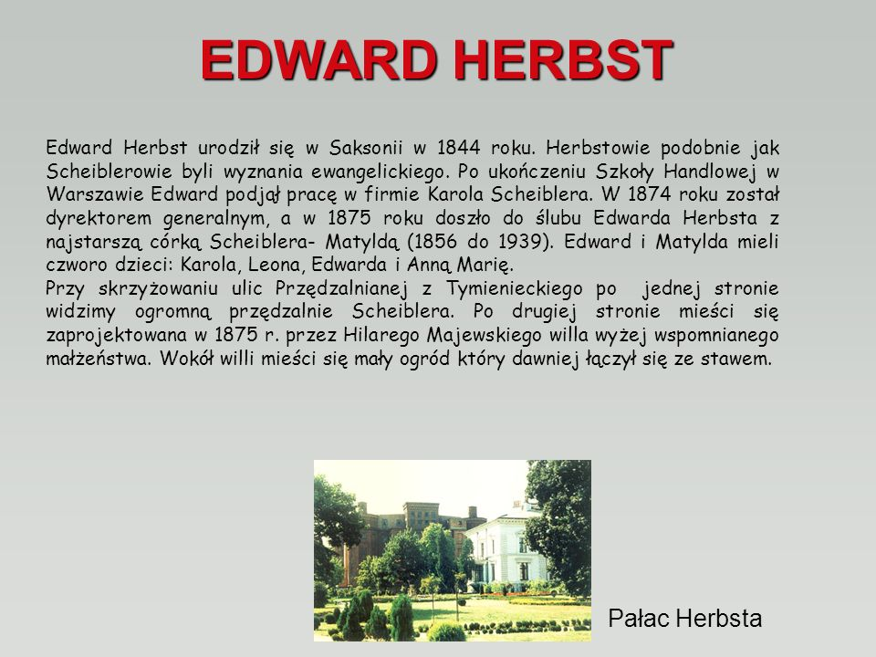 EDWARD HERBST Pałac Herbsta