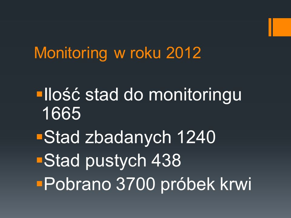 Ilość stad do monitoringu 1665 Stad zbadanych 1240 Stad pustych 438