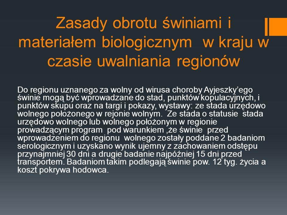 Zasady obrotu świniami i materiałem biologicznym w kraju w czasie uwalniania regionów