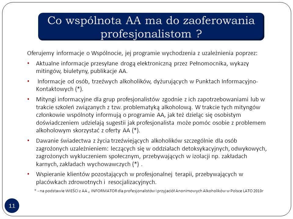 Co wspólnota AA ma do zaoferowania profesjonalistom