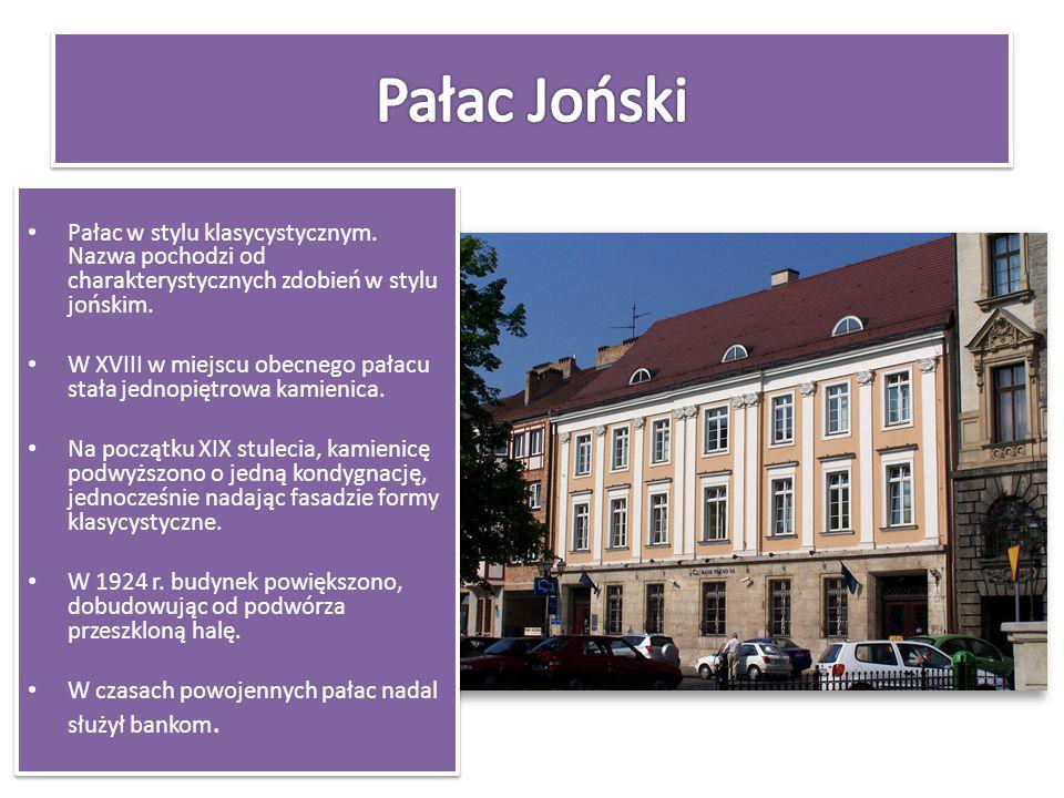 Pałac Joński Pałac w stylu klasycystycznym. Nazwa pochodzi od charakterystycznych zdobień w stylu jońskim.