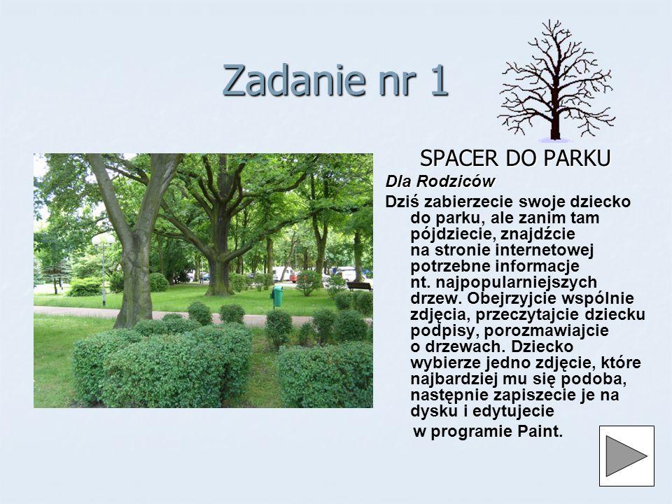 Zadanie nr 1 SPACER DO PARKU Dla Rodziców