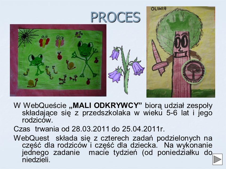 """PROCES W WebQueście """"MALI ODKRYWCY biorą udział zespoły składające się z przedszkolaka w wieku 5-6 lat i jego rodziców."""