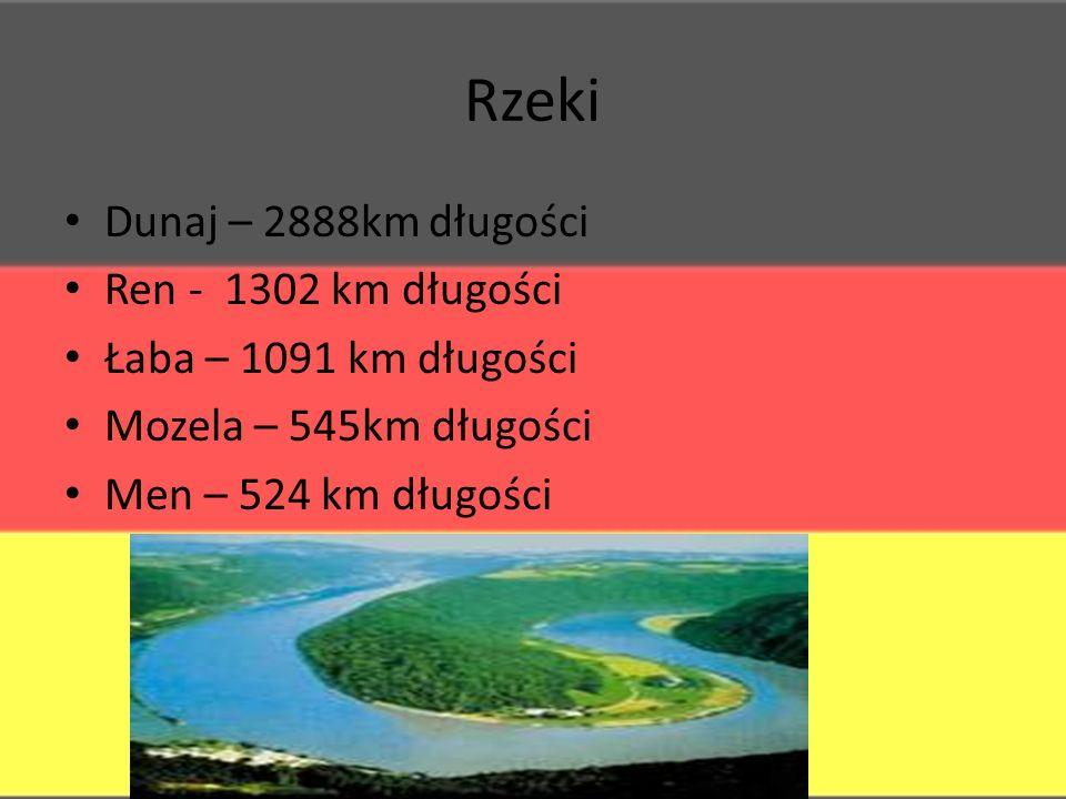 Rzeki Dunaj – 2888km długości Ren - 1302 km długości