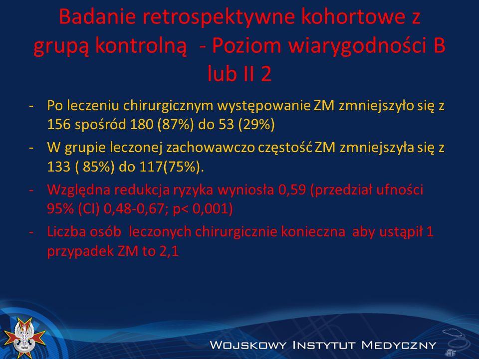 Badanie retrospektywne kohortowe z grupą kontrolną - Poziom wiarygodności B lub II 2