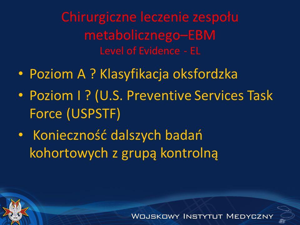 Chirurgiczne leczenie zespołu metabolicznego–EBM Level of Evidence - EL