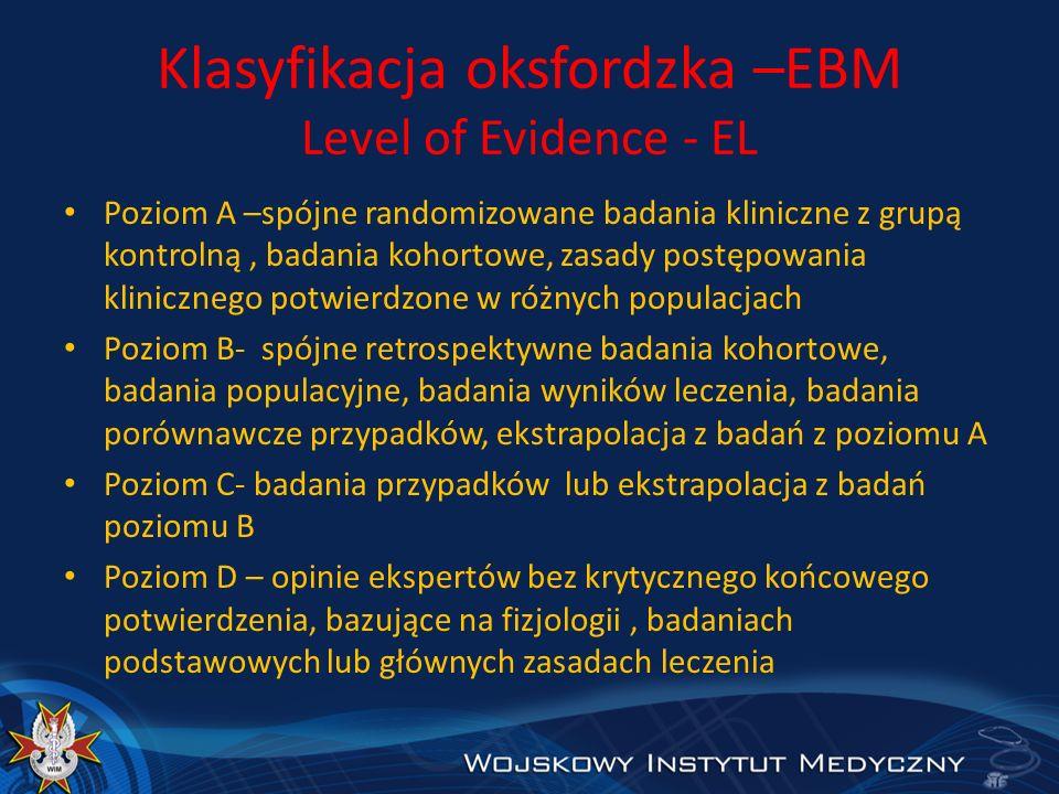 Klasyfikacja oksfordzka –EBM Level of Evidence - EL