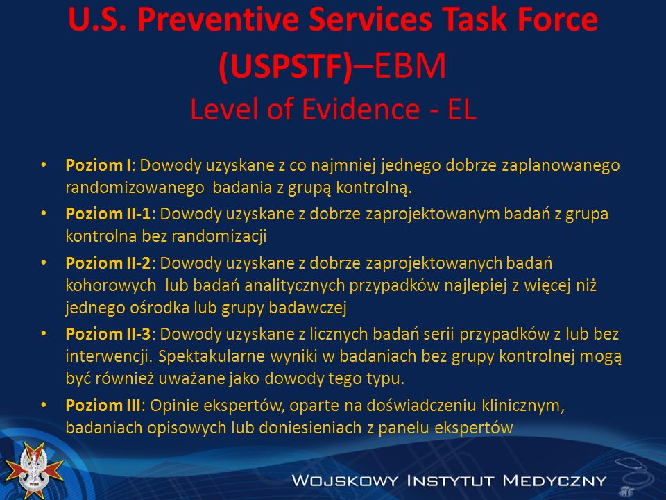 U.S. Preventive Services Task Force (USPSTF)–EBM Level of Evidence - EL