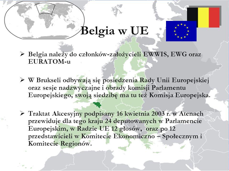 Belgia w UE Belgia należy do członków-założycieli EWWIS, EWG oraz EURATOM-u.