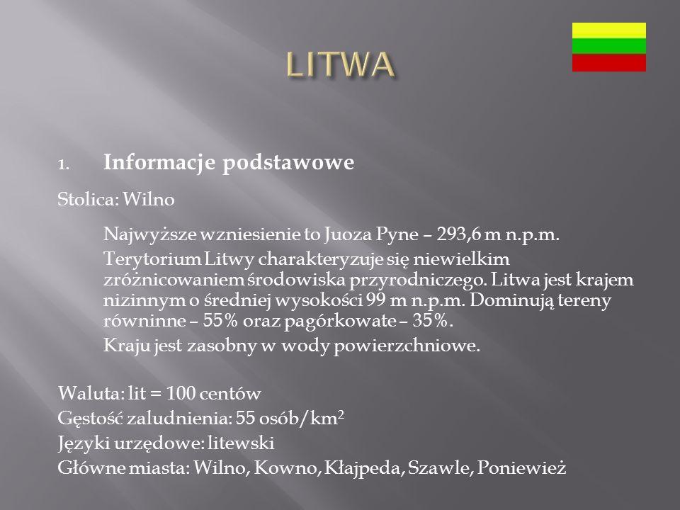 LITWA Informacje podstawowe Stolica: Wilno