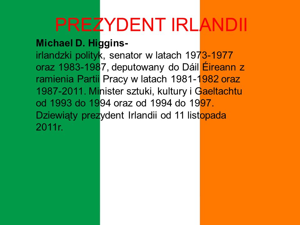 PREZYDENT IRLANDII Michael D. Higgins-