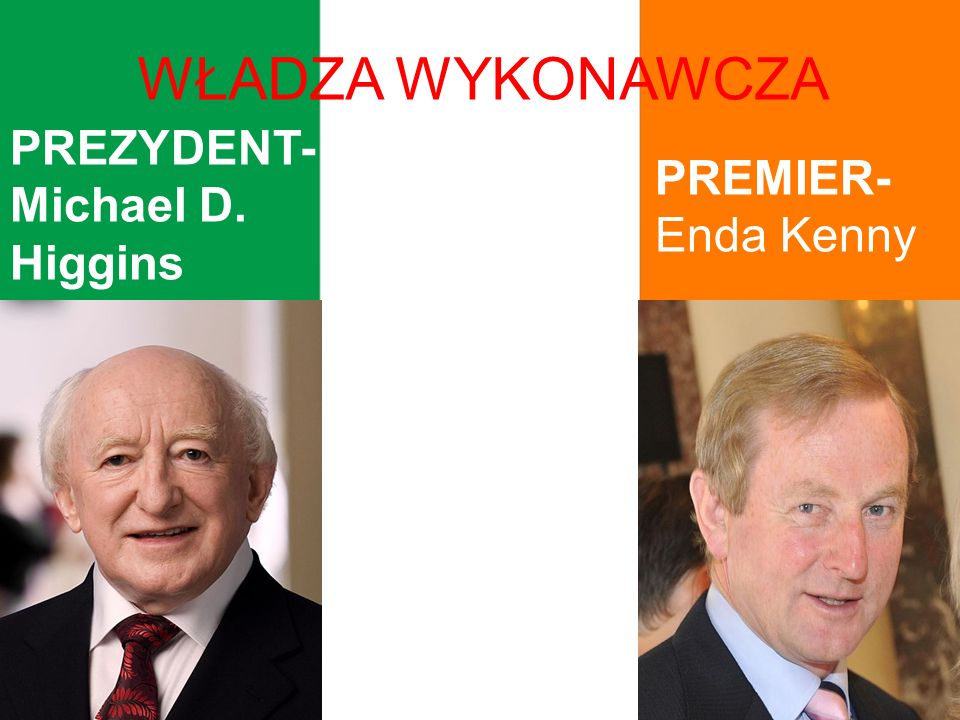 WŁADZA WYKONAWCZA PREZYDENT- Michael D. Higgins PREMIER- Enda Kenny