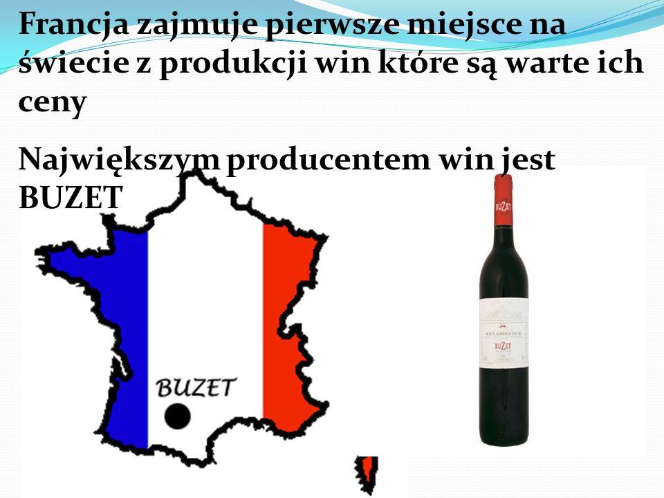 Francja zajmuje pierwsze miejsce na świecie z produkcji win które są warte ich ceny