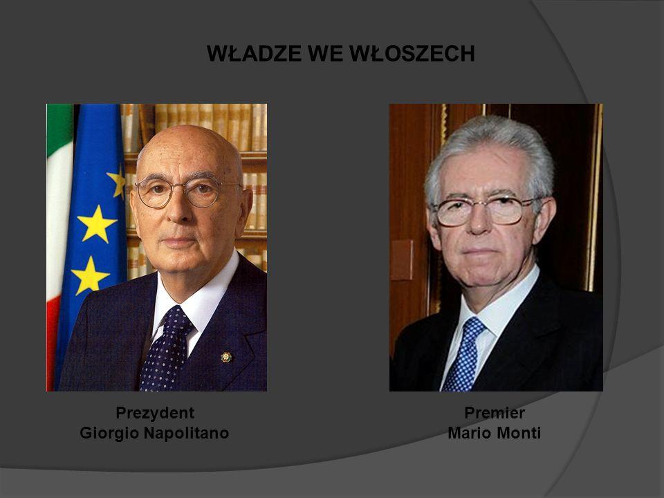 WŁADZE WE WŁOSZECH Prezydent Giorgio Napolitano Premier Mario Monti