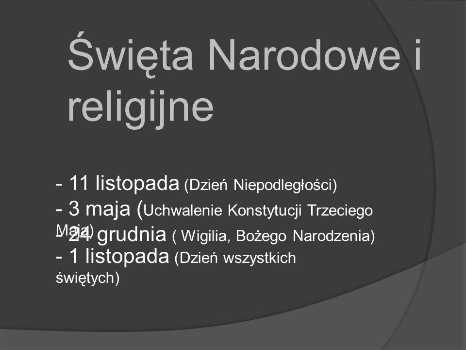 Święta Narodowe i religijne