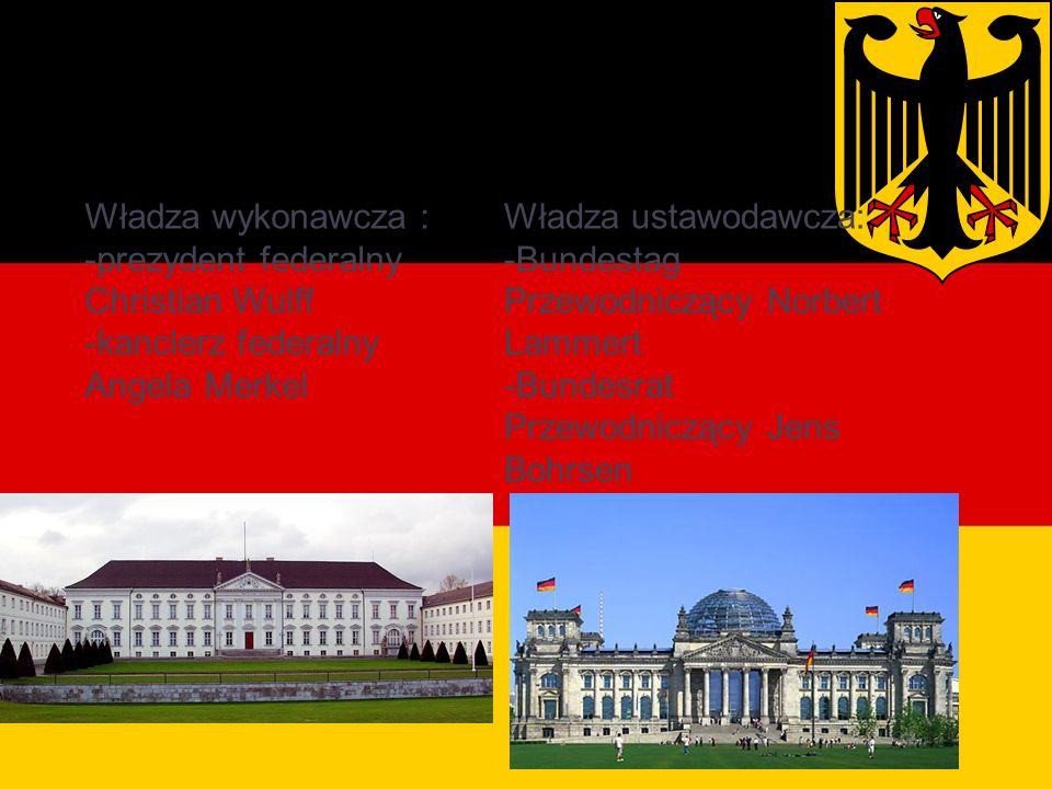 Władze Niemiec Władza wykonawcza : -prezydent federalny