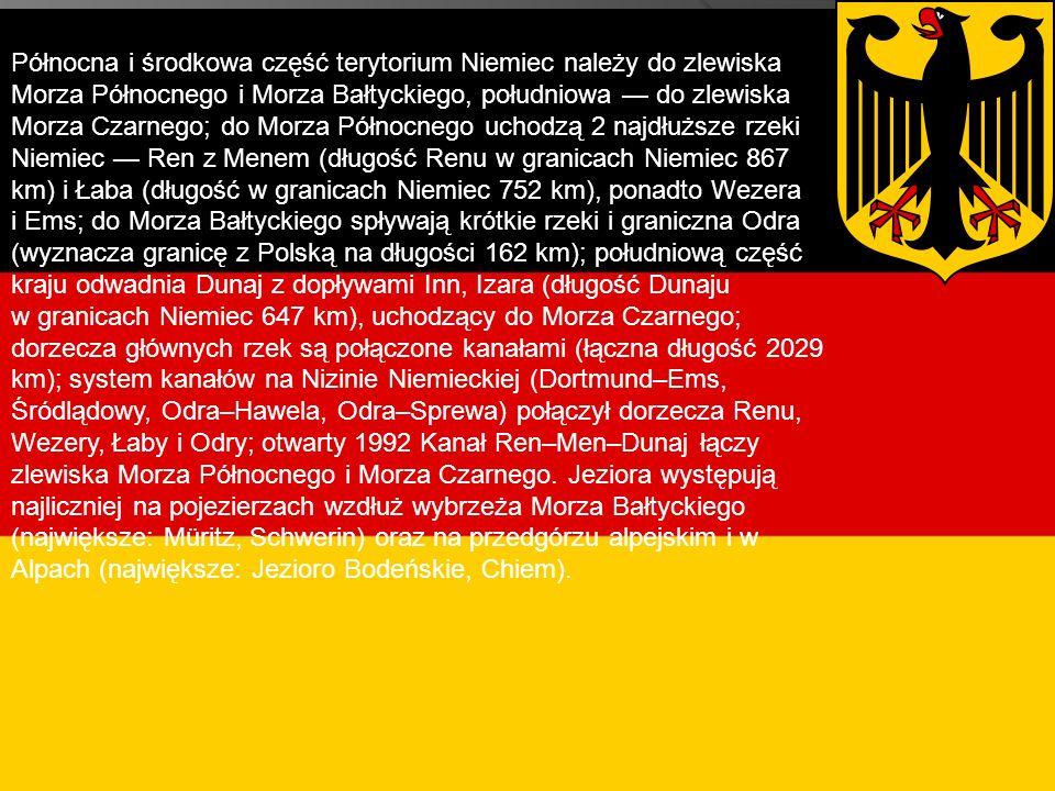 Północna i środkowa część terytorium Niemiec należy do zlewiska Morza Północnego i Morza Bałtyckiego, południowa — do zlewiska Morza Czarnego; do Morza Północnego uchodzą 2 najdłuższe rzeki Niemiec — Ren z Menem (długość Renu w granicach Niemiec 867 km) i Łaba (długość w granicach Niemiec 752 km), ponadto Wezera i Ems; do Morza Bałtyckiego spływają krótkie rzeki i graniczna Odra (wyznacza granicę z Polską na długości 162 km); południową część kraju odwadnia Dunaj z dopływami Inn, Izara (długość Dunaju w granicach Niemiec 647 km), uchodzący do Morza Czarnego; dorzecza głównych rzek są połączone kanałami (łączna długość 2029 km); system kanałów na Nizinie Niemieckiej (Dortmund–Ems, Śródlądowy, Odra–Hawela, Odra–Sprewa) połączył dorzecza Renu, Wezery, Łaby i Odry; otwarty 1992 Kanał Ren–Men–Dunaj łączy zlewiska Morza Północnego i Morza Czarnego. Jeziora występują najliczniej na pojezierzach wzdłuż wybrzeża Morza Bałtyckiego (największe: Müritz, Schwerin) oraz na przedgórzu alpejskim i w Alpach (największe: Jezioro Bodeńskie, Chiem).