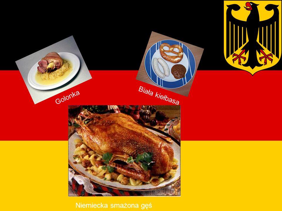 Potrawy Niemieckie Biała kiełbasa Golonka Niemiecka smażona gęś