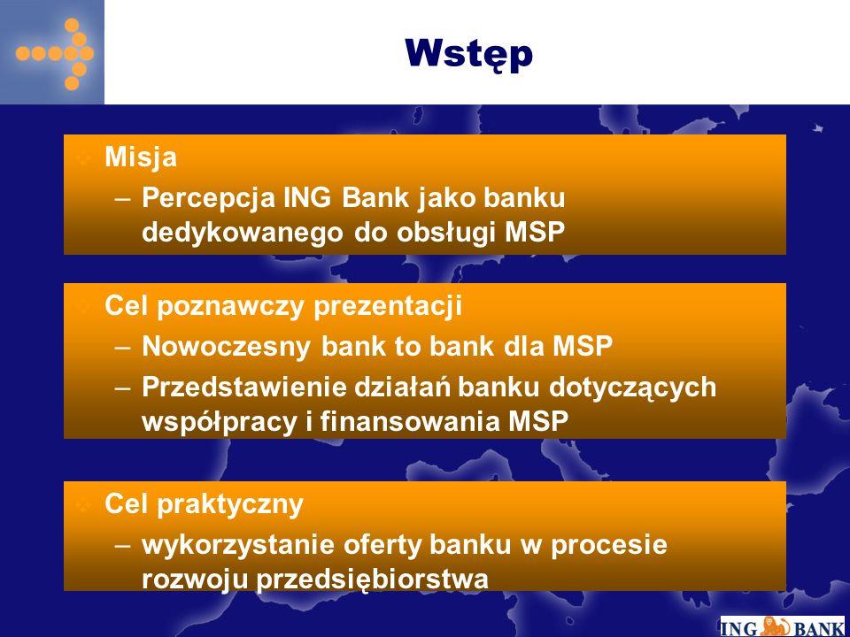 Wstęp Misja Percepcja ING Bank jako banku dedykowanego do obsługi MSP