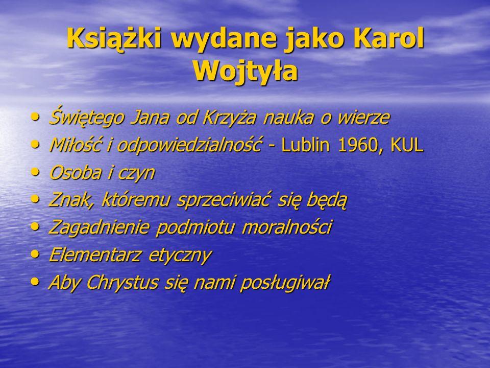 Książki wydane jako Karol Wojtyła