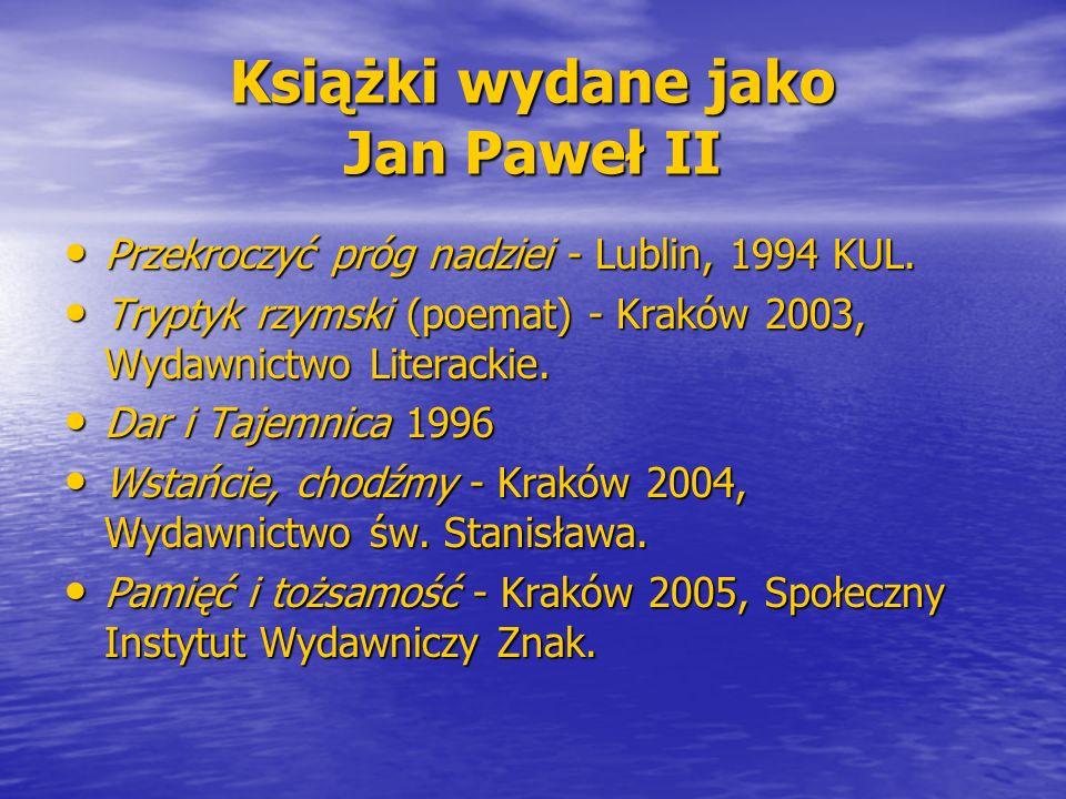 Książki wydane jako Jan Paweł II