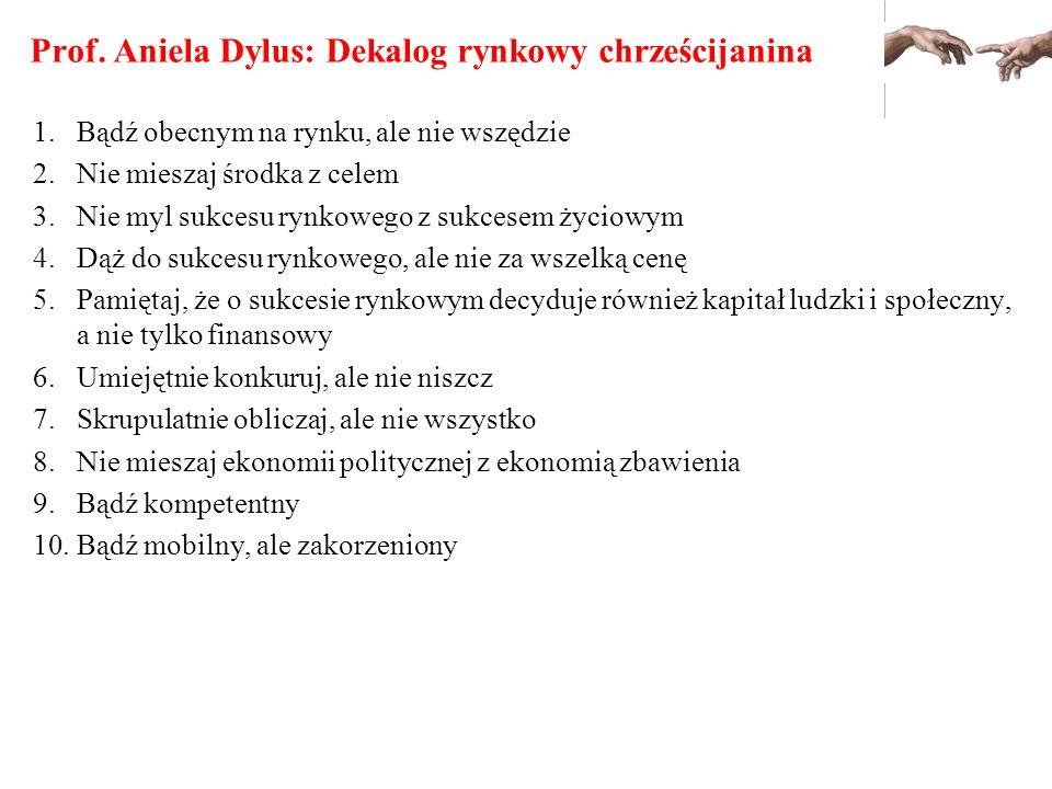 Prof. Aniela Dylus: Dekalog rynkowy chrześcijanina