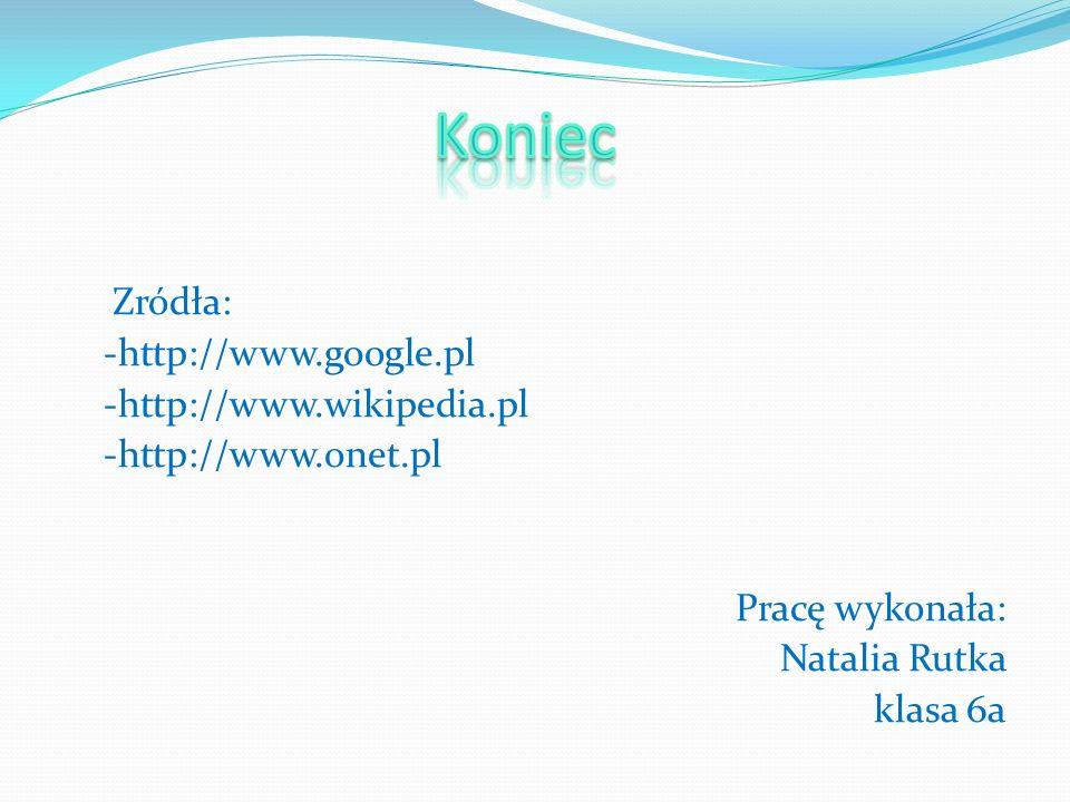 Koniec Zródła: -http://www.google.pl -http://www.wikipedia.pl -http://www.onet.pl Pracę wykonała: Natalia Rutka klasa 6a