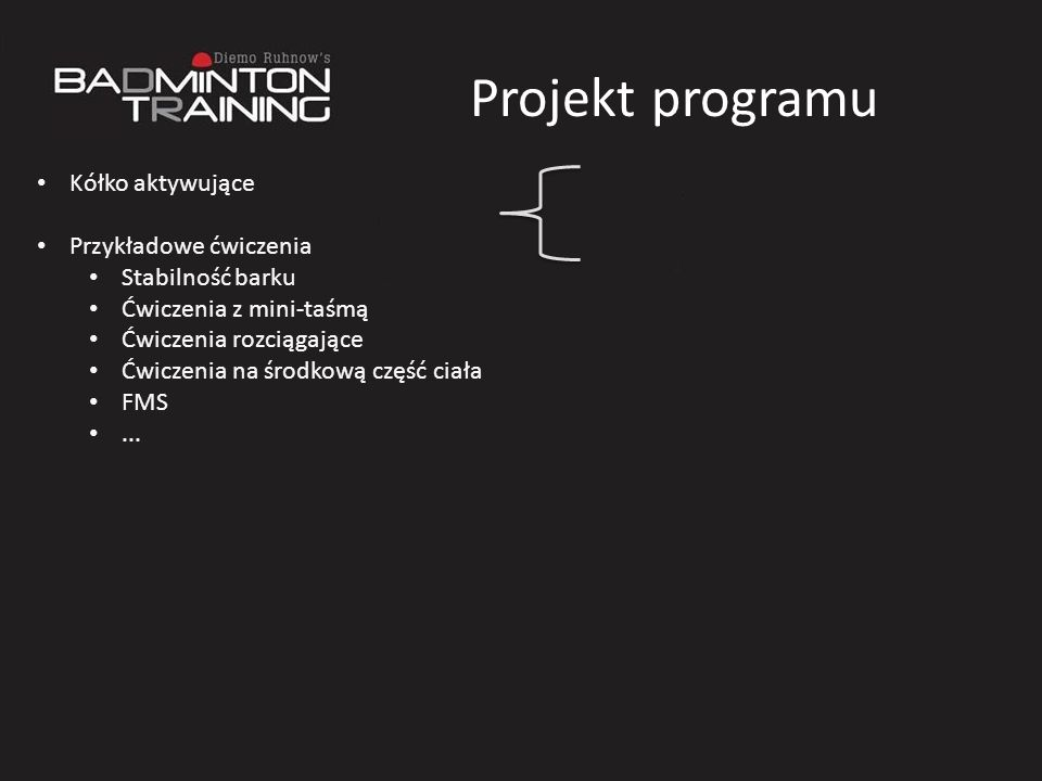 Projekt programu Kółko aktywujące Przykładowe ćwiczenia