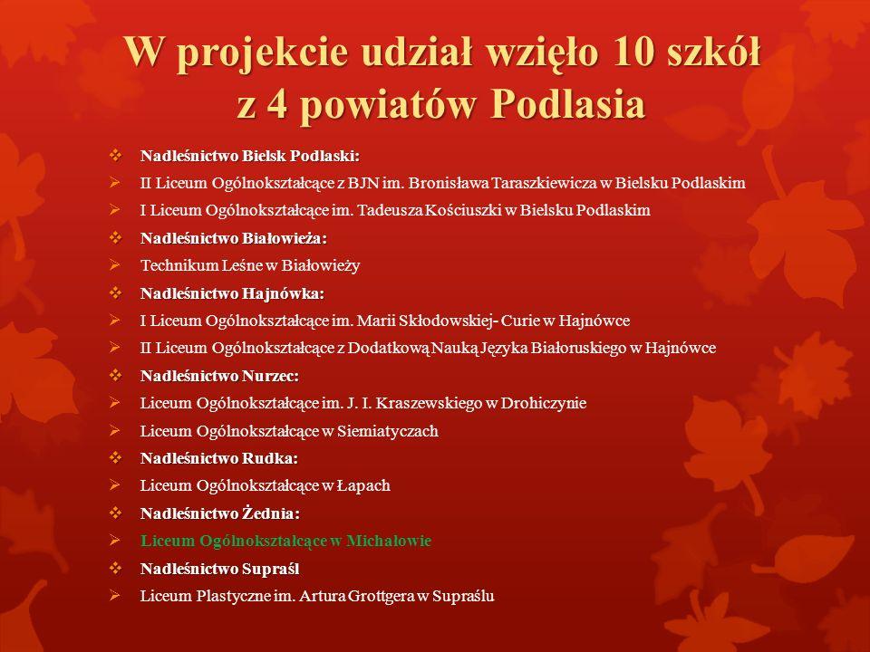 W projekcie udział wzięło 10 szkół z 4 powiatów Podlasia