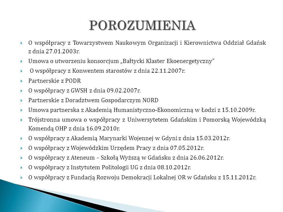 POROZUMIENIA O współpracy z Towarzystwem Naukowym Organizacji i Kierownictwa Oddział Gdańsk z dnia 27.01.2003r.