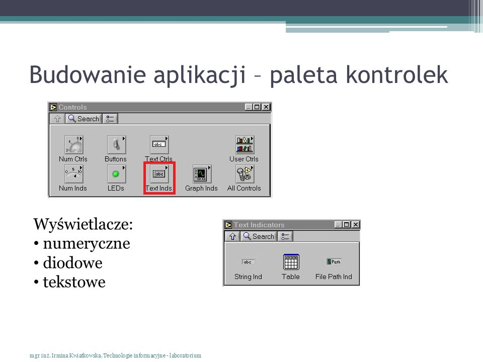 Budowanie aplikacji – paleta kontrolek