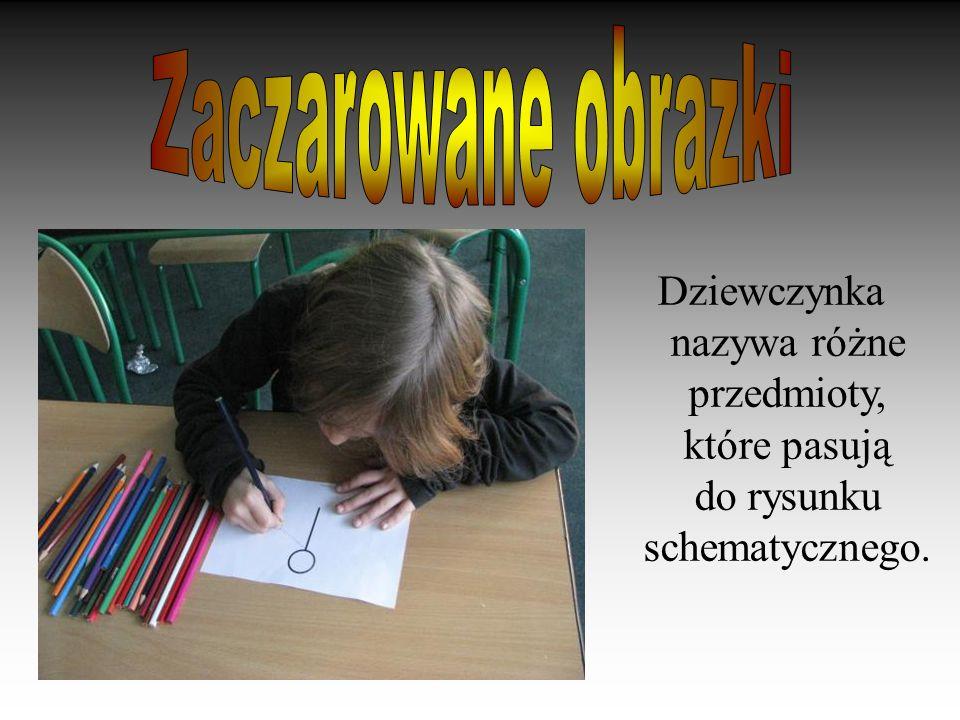 Zaczarowane obrazki Dziewczynka nazywa różne przedmioty, które pasują do rysunku schematycznego.