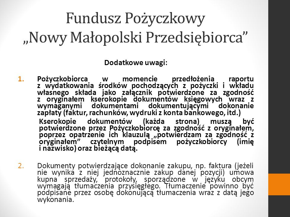 """Fundusz Pożyczkowy """"Nowy Małopolski Przedsiębiorca"""