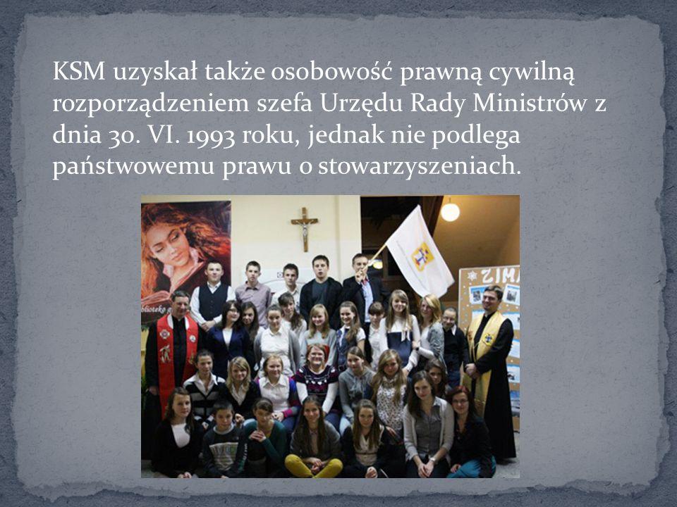 KSM uzyskał także osobowość prawną cywilną rozporządzeniem szefa Urzędu Rady Ministrów z dnia 30.