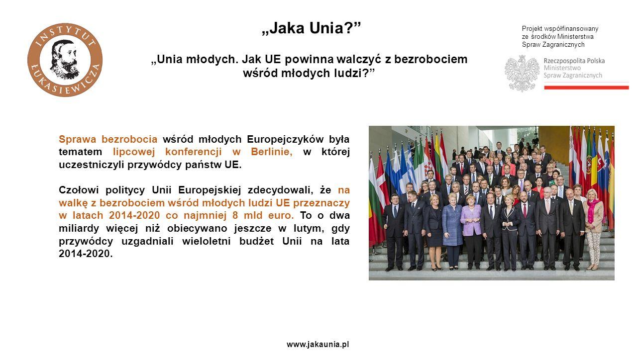 """""""Jaka Unia """"Unia młodych. Jak UE powinna walczyć z bezrobociem wśród młodych ludzi Projekt współfinansowany."""