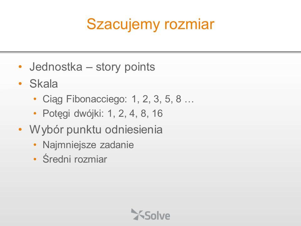 Szacujemy rozmiar Jednostka – story points Skala