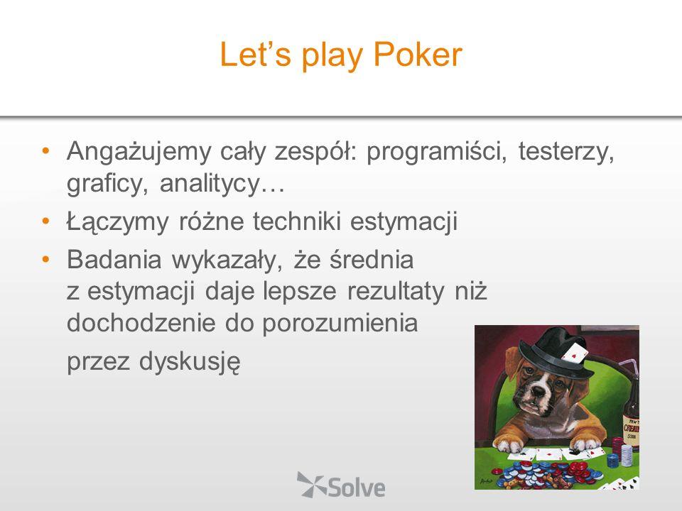 Let's play Poker Angażujemy cały zespół: programiści, testerzy, graficy, analitycy… Łączymy różne techniki estymacji.